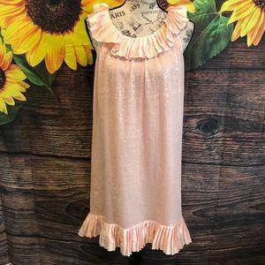 Betsey Johnson Sequin Dress Ruffle Trim Peach NWT